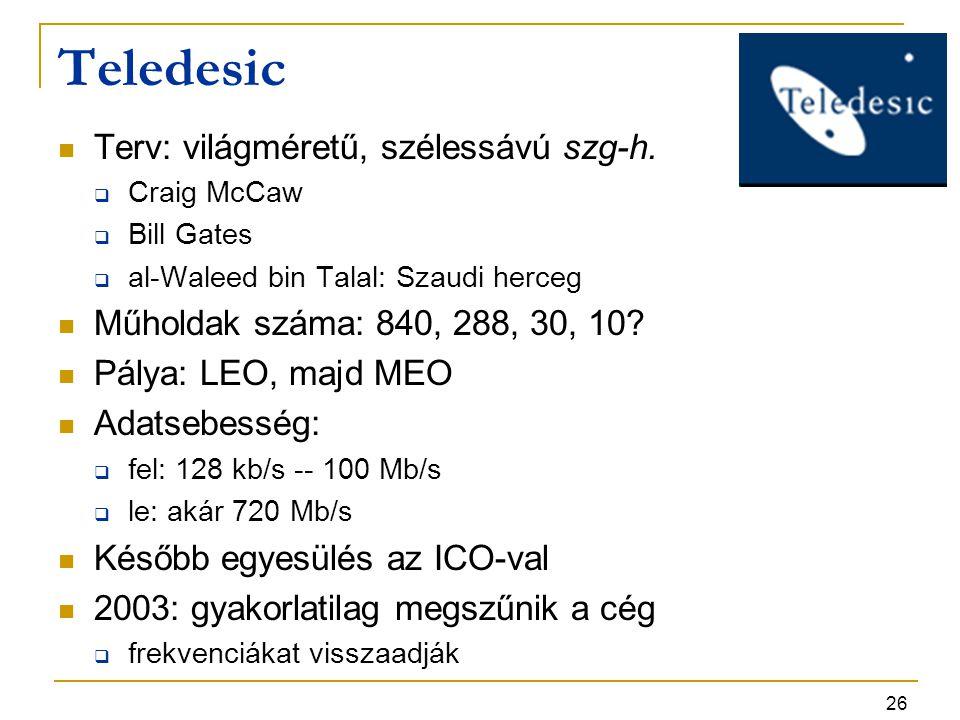 Teledesic Terv: világméretű, szélessávú szg-h.