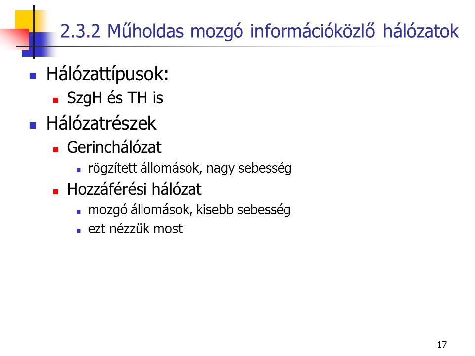 2.3.2 Műholdas mozgó információközlő hálózatok