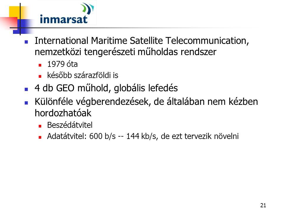 4 db GEO műhold, globális lefedés