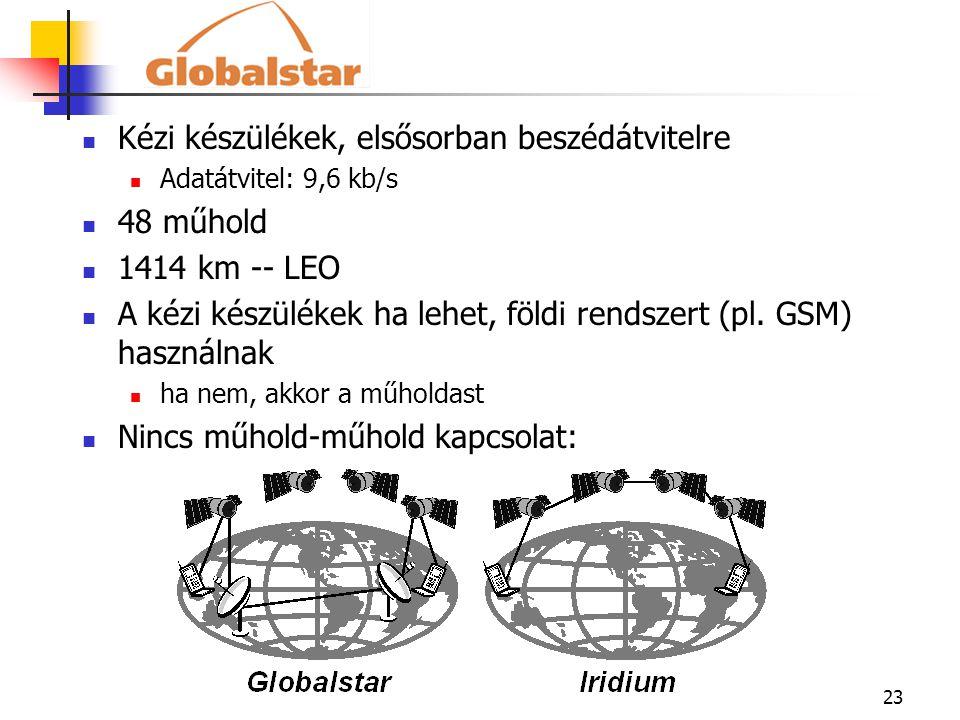 Kézi készülékek, elsősorban beszédátvitelre 48 műhold 1414 km -- LEO