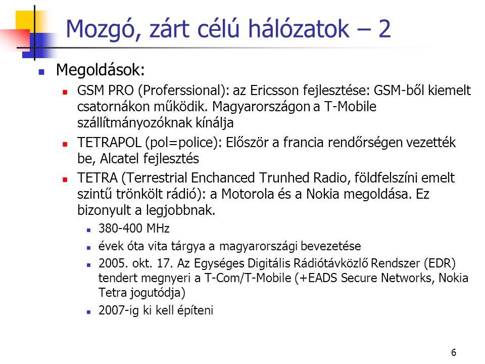 Mozgó, zárt célú hálózatok – 2