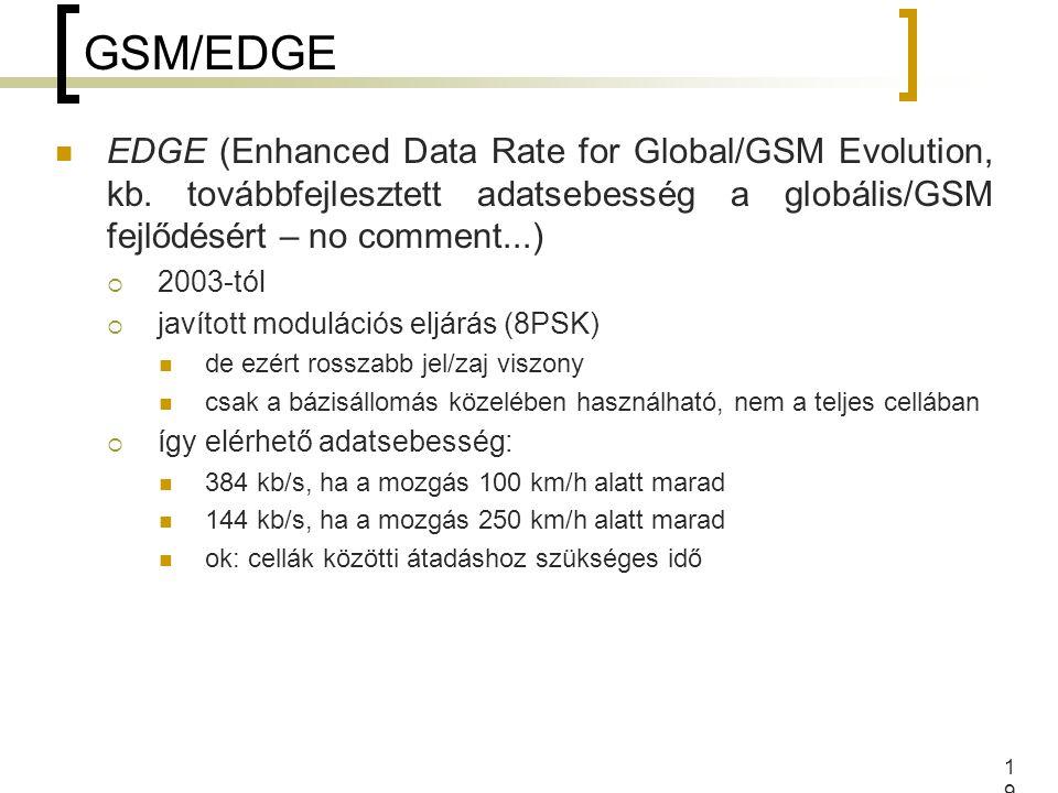 GSM/EDGE EDGE (Enhanced Data Rate for Global/GSM Evolution, kb. továbbfejlesztett adatsebesség a globális/GSM fejlődésért – no comment...)