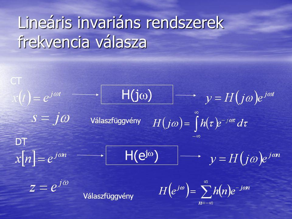 Lineáris invariáns rendszerek frekvencia válasza