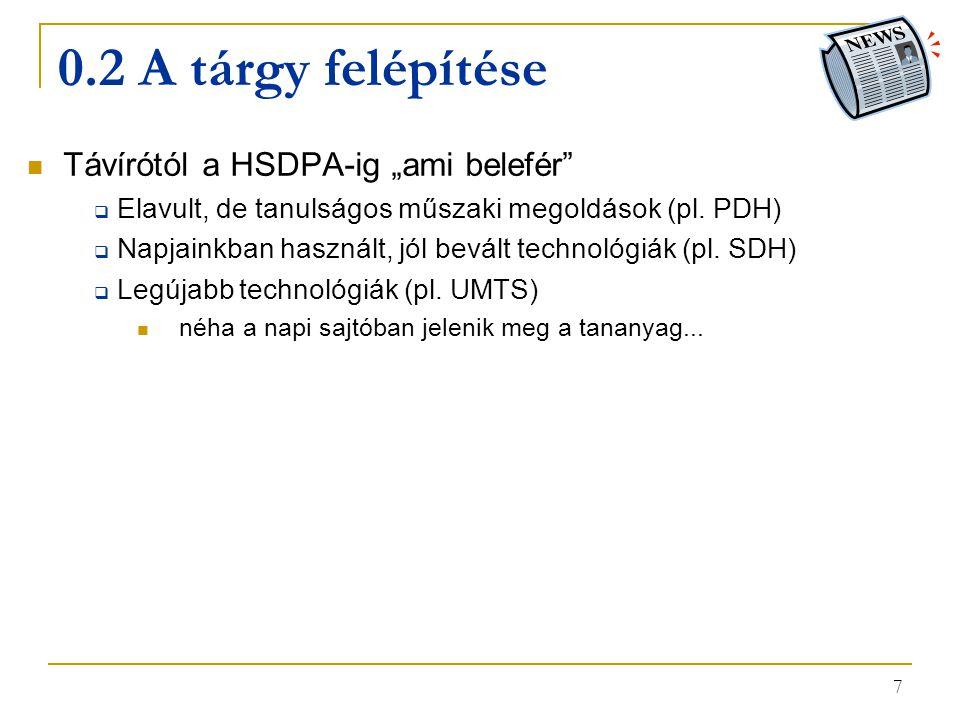 """0.2 A tárgy felépítése Távírótól a HSDPA-ig """"ami belefér"""