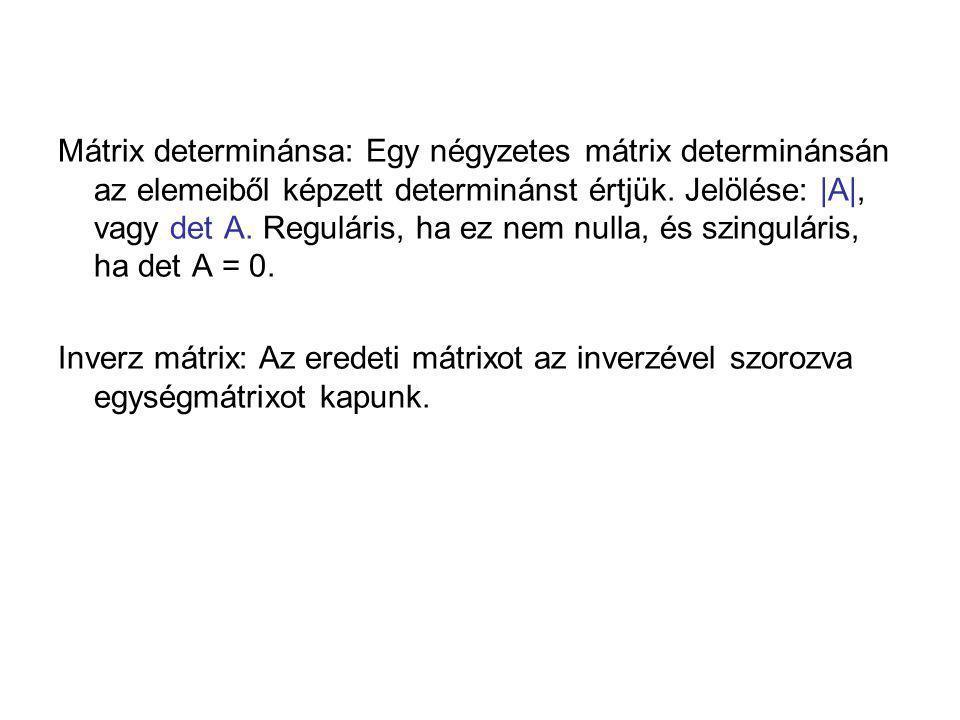 Mátrix determinánsa: Egy négyzetes mátrix determinánsán az elemeiből képzett determinánst értjük. Jelölése: |A|, vagy det A. Reguláris, ha ez nem nulla, és szinguláris, ha det A = 0.