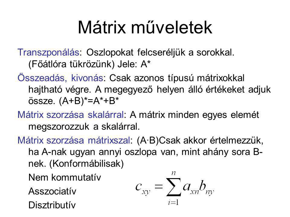 Mátrix műveletek Transzponálás: Oszlopokat felcseréljük a sorokkal. (Főátlóra tükrözünk) Jele: A*