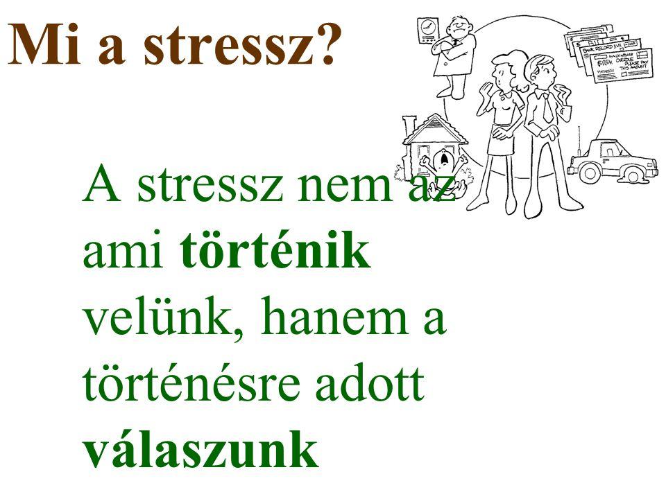 Mi a stressz A stressz nem az ami történik velünk, hanem a történésre adott válaszunk