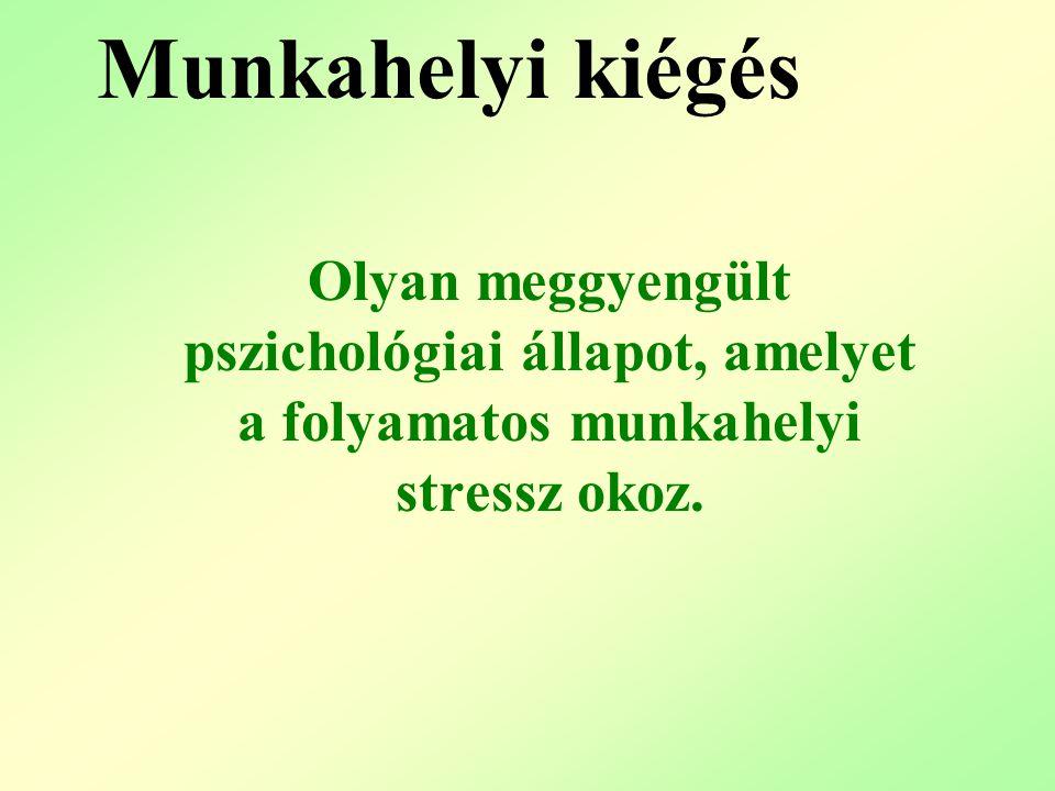 Munkahelyi kiégés Olyan meggyengült pszichológiai állapot, amelyet a folyamatos munkahelyi stressz okoz.