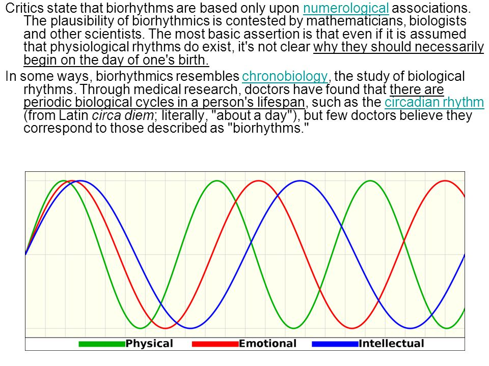 Critics state that biorhythms are based only upon numerological associations. The plausibility of biorhythmics is contested by mathematicians, biologists and other scientists. The most basic assertion is that even if it is assumed that physiological rhythms do exist, it s not clear why they should necessarily begin on the day of one s birth.