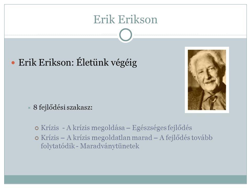 Erik Erikson Erik Erikson: Életünk végéig 8 fejlődési szakasz: