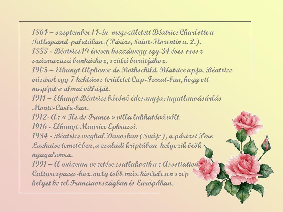 1864 – szeptember 14-én megszületett Béatrice Charlotte a Talleyrand-palotában, (Párizs, Saint-Florentin u. 2.).