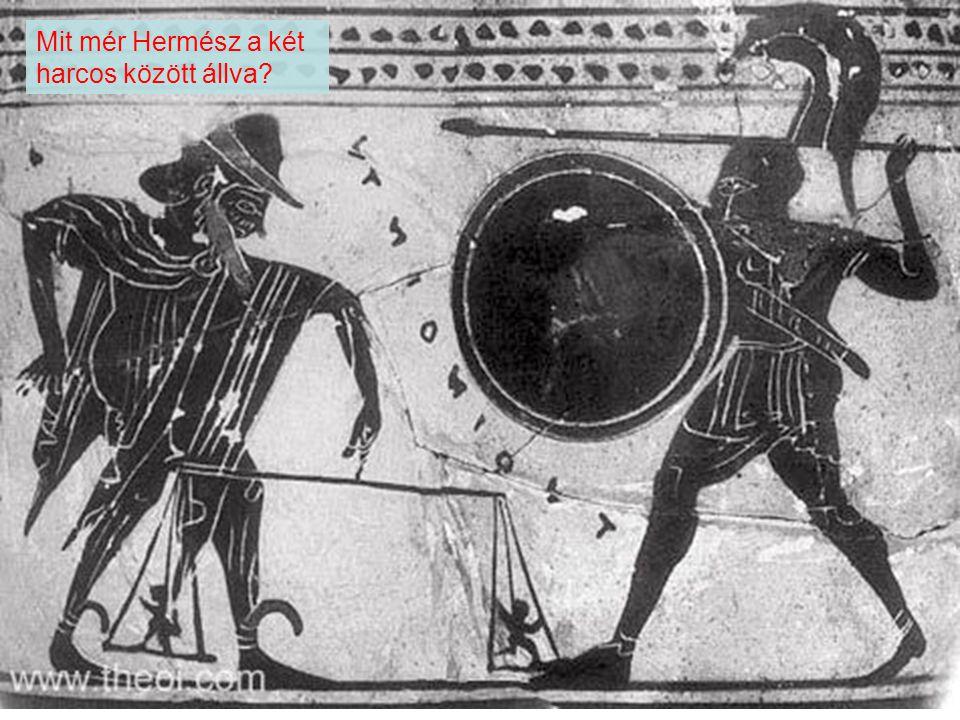 Mit mér Hermész a két harcos között állva