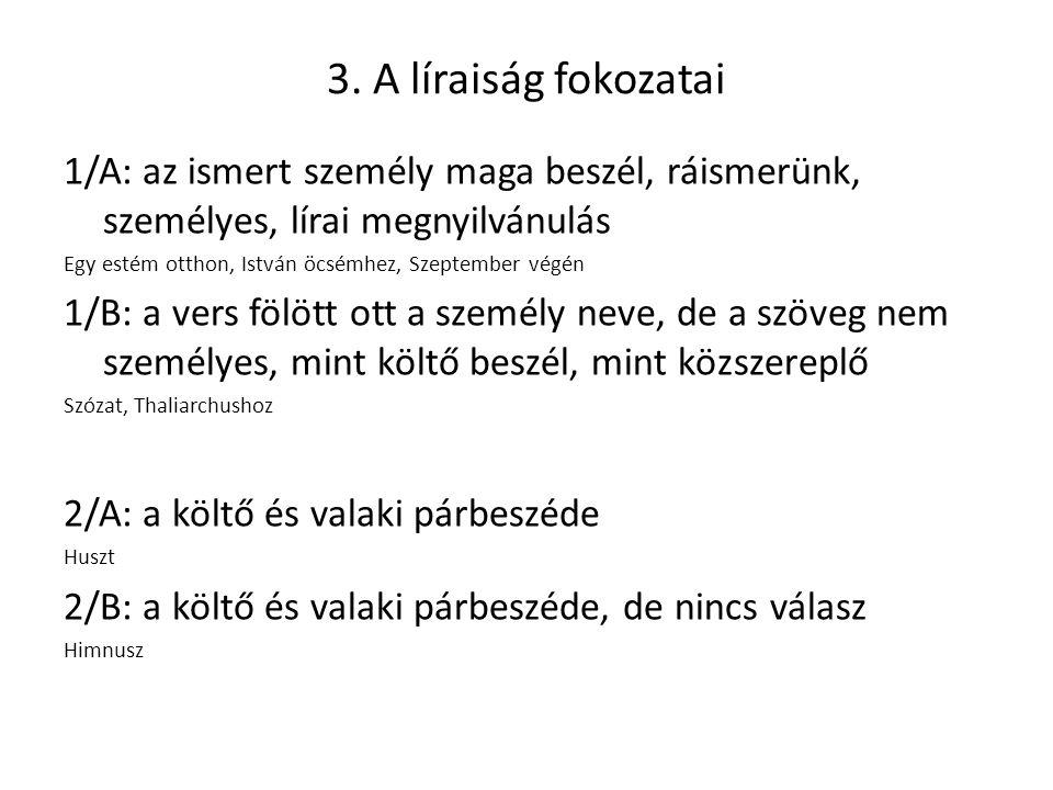 3. A líraiság fokozatai 1/A: az ismert személy maga beszél, ráismerünk, személyes, lírai megnyilvánulás.