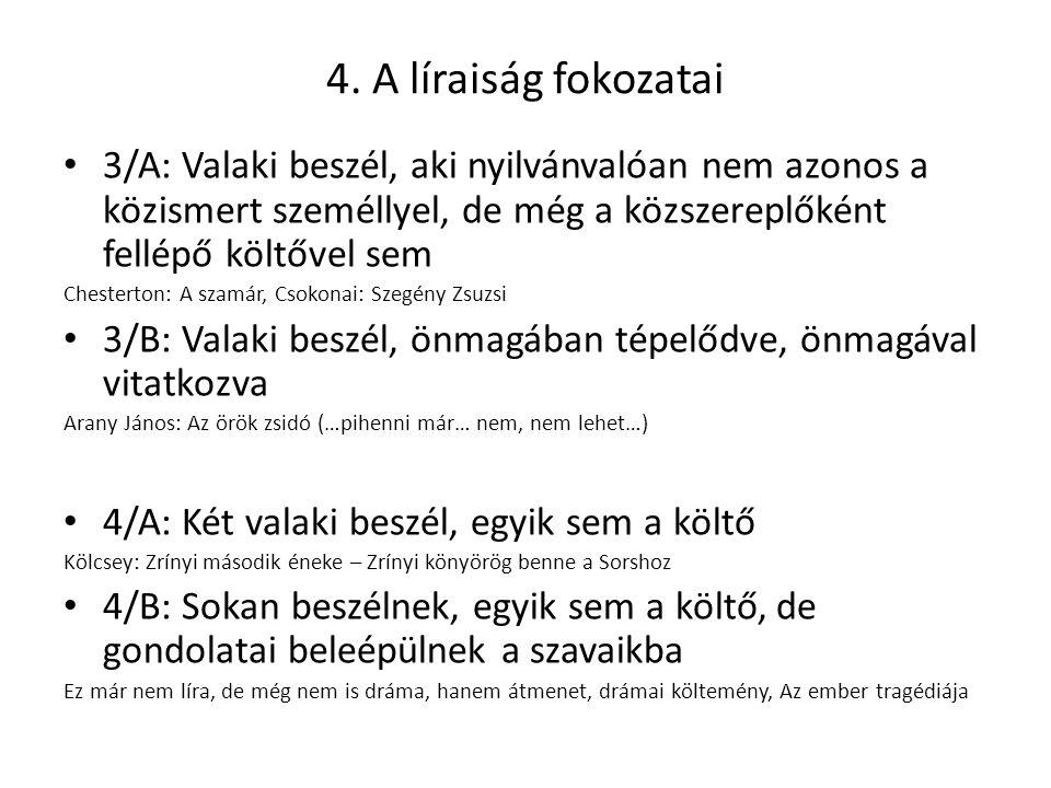 4. A líraiság fokozatai 3/A: Valaki beszél, aki nyilvánvalóan nem azonos a közismert személlyel, de még a közszereplőként fellépő költővel sem.