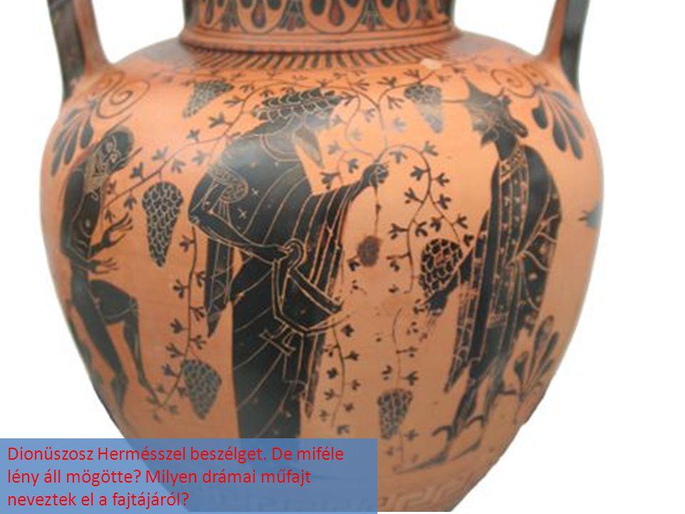 Dionüszosz Hermésszel beszélget. De miféle lény áll mögötte