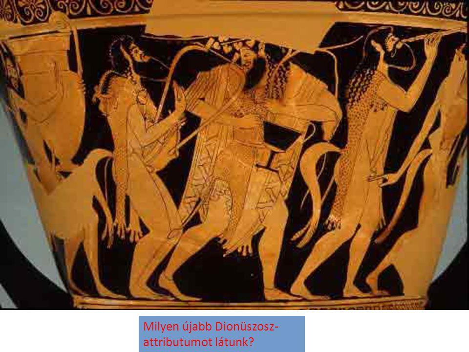 Milyen újabb Dionüszosz-attributumot látunk