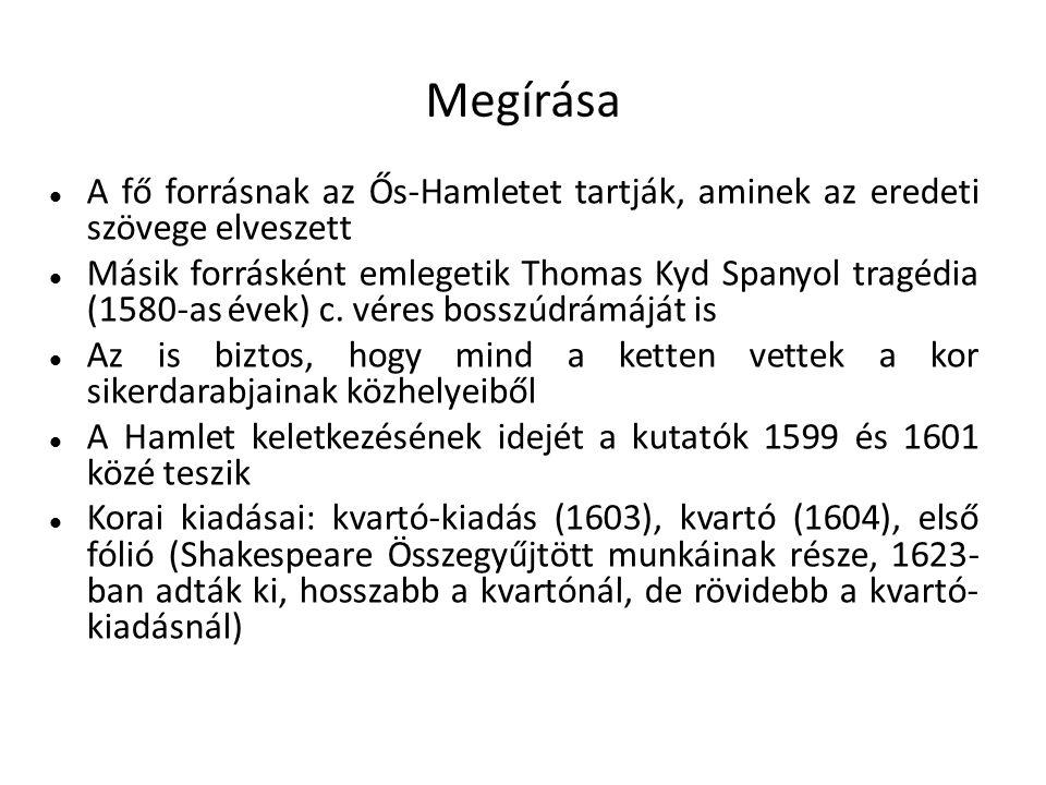 Megírása A fő forrásnak az Ős-Hamletet tartják, aminek az eredeti szövege elveszett.