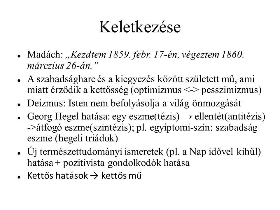"""Keletkezése Madách: """"Kezdtem 1859. febr. 17-én, végeztem 1860. márczius 26-án."""
