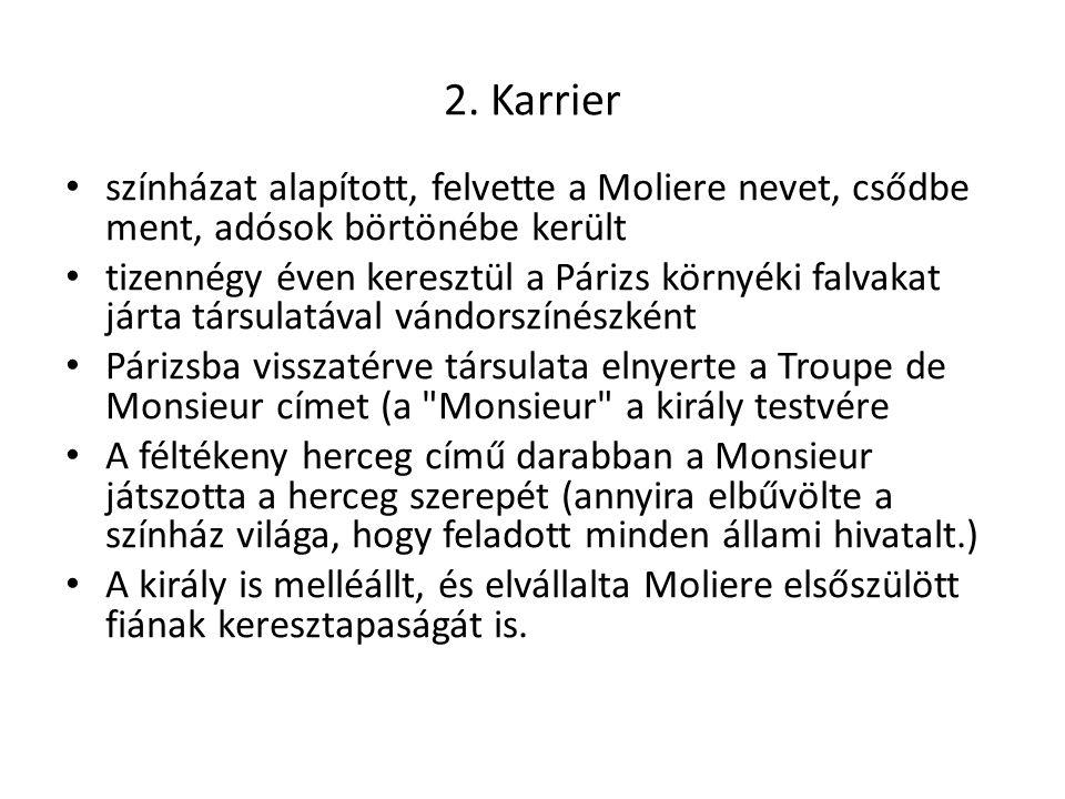 2. Karrier színházat alapított, felvette a Moliere nevet, csődbe ment, adósok börtönébe került.