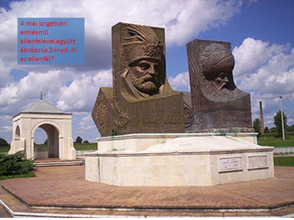 A mai szigetvári emlékmű ellenfelével együtt ábrázolja Zrínyit