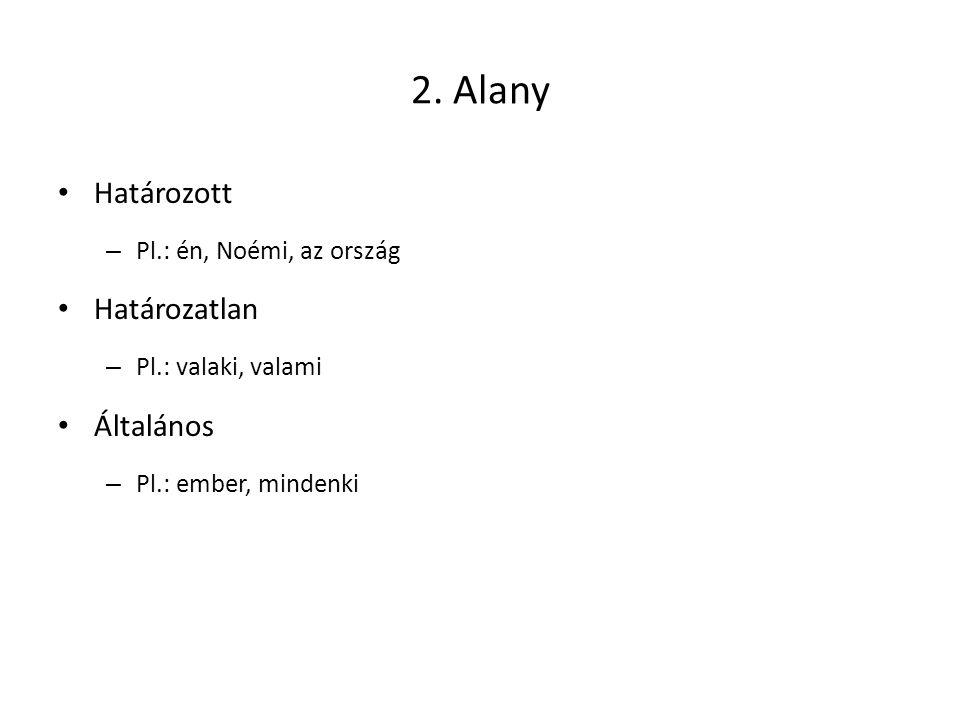 2. Alany Határozott Határozatlan Általános Pl.: én, Noémi, az ország
