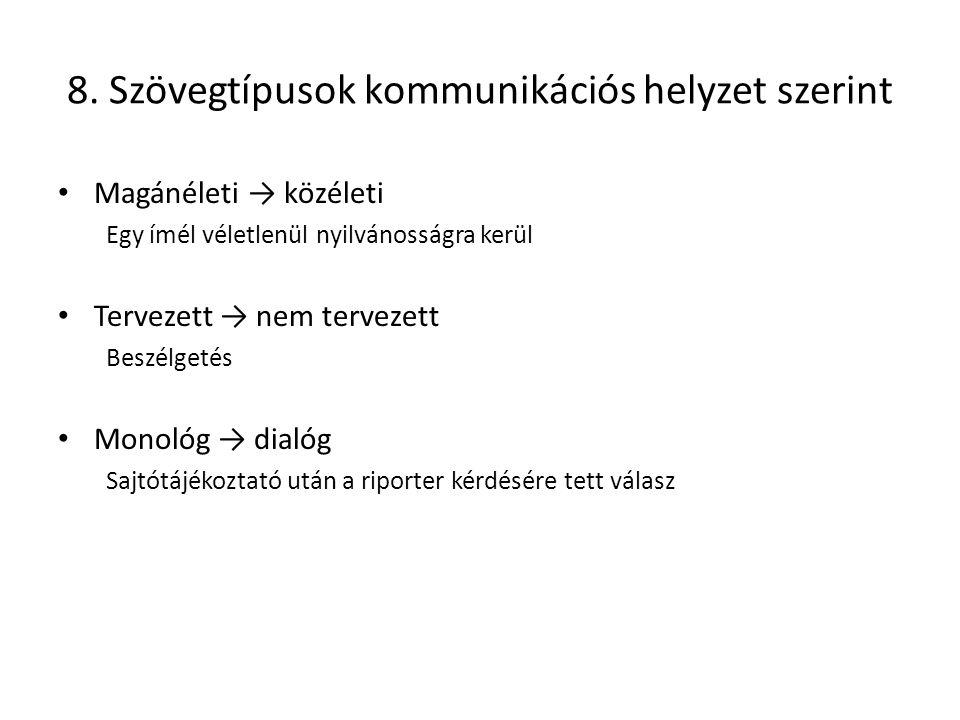 8. Szövegtípusok kommunikációs helyzet szerint