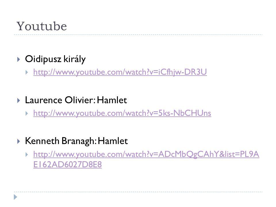 Youtube Oidipusz király Laurence Olivier: Hamlet