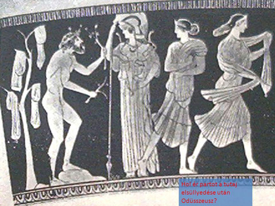 Hol ér partot a tutaj elsüllyedése után Odüsszeusz