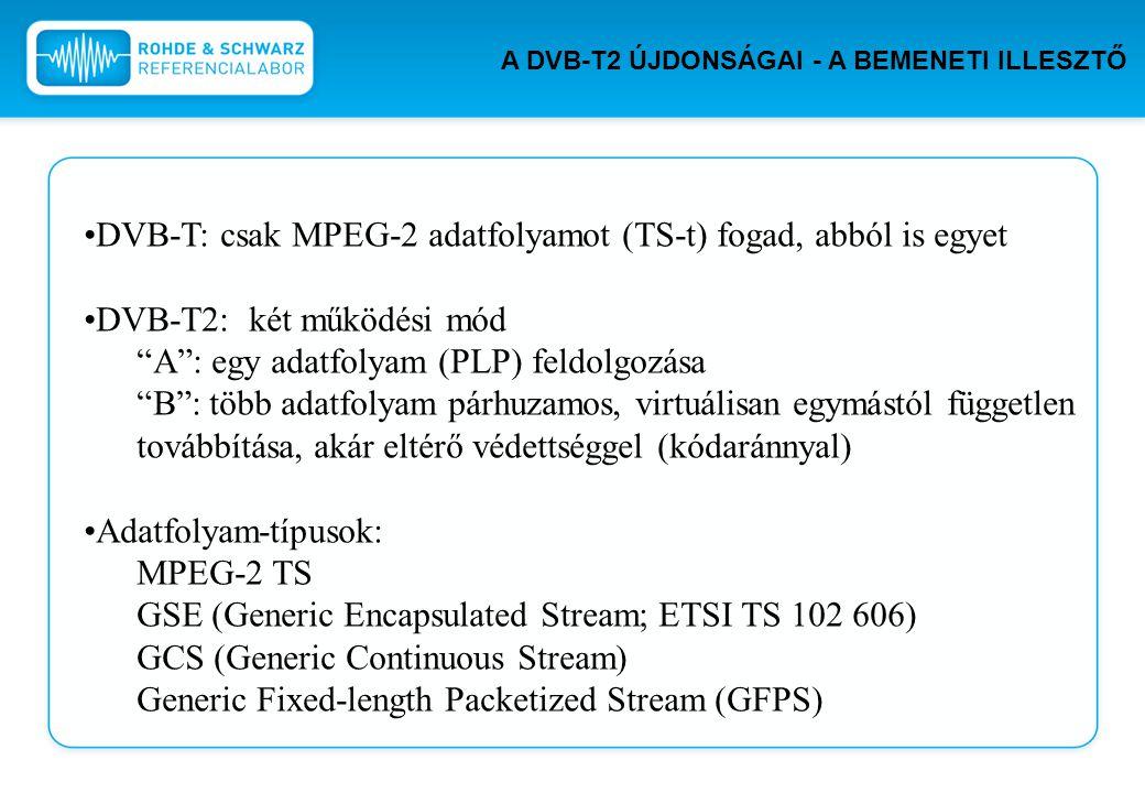 DVB-T: csak MPEG-2 adatfolyamot (TS-t) fogad, abból is egyet