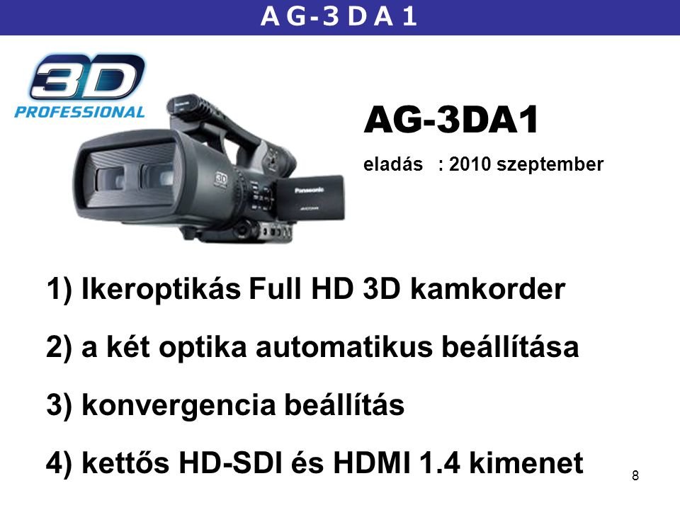 AG-3DA1 Ikeroptikás Full HD 3D kamkorder