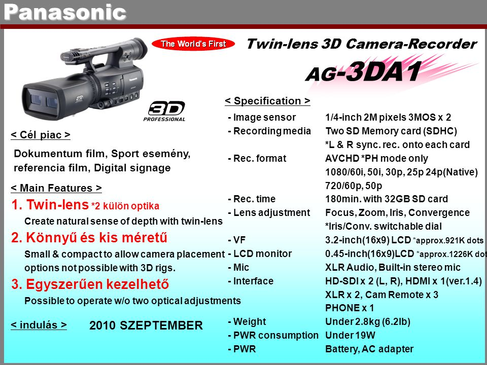 Panasonic AG-3DA1 Twin-lens 3D Camera-Recorder