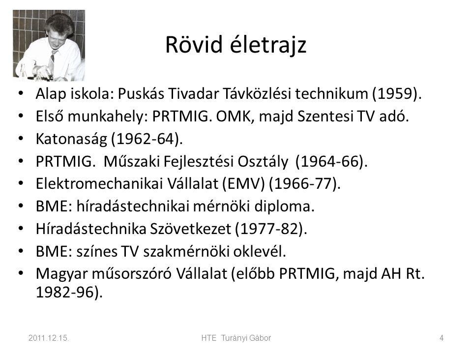 Rövid életrajz Alap iskola: Puskás Tivadar Távközlési technikum (1959). Első munkahely: PRTMIG. OMK, majd Szentesi TV adó.
