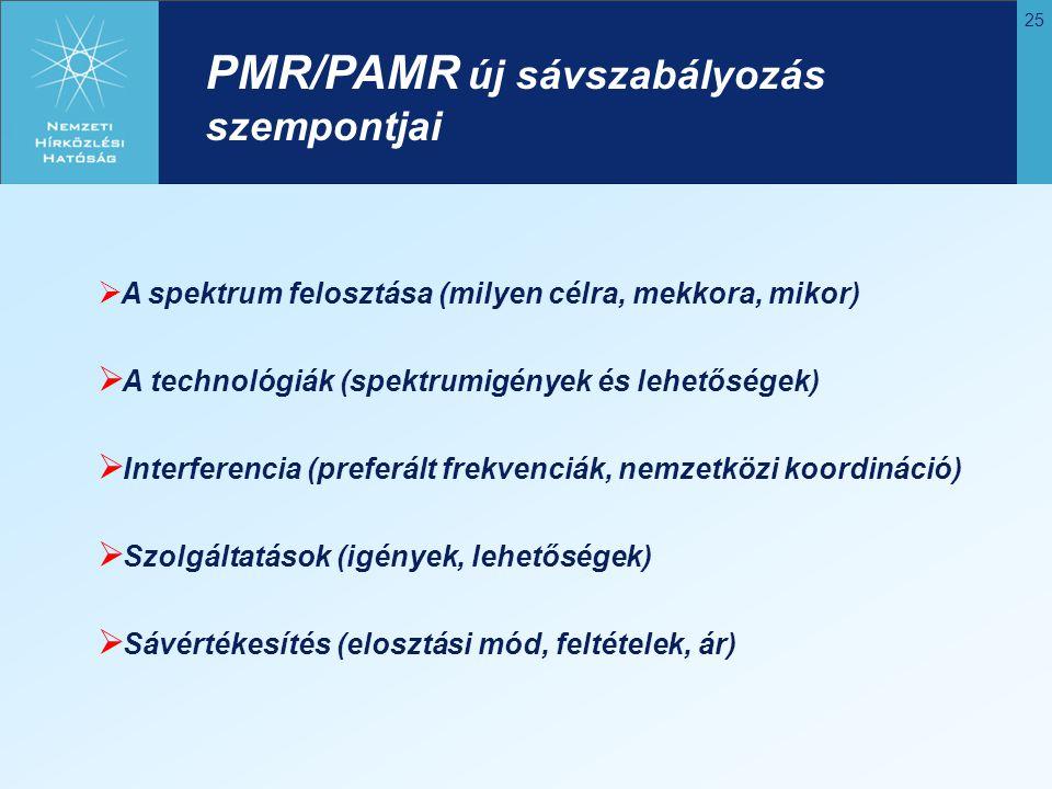 PMR/PAMR új sávszabályozás szempontjai