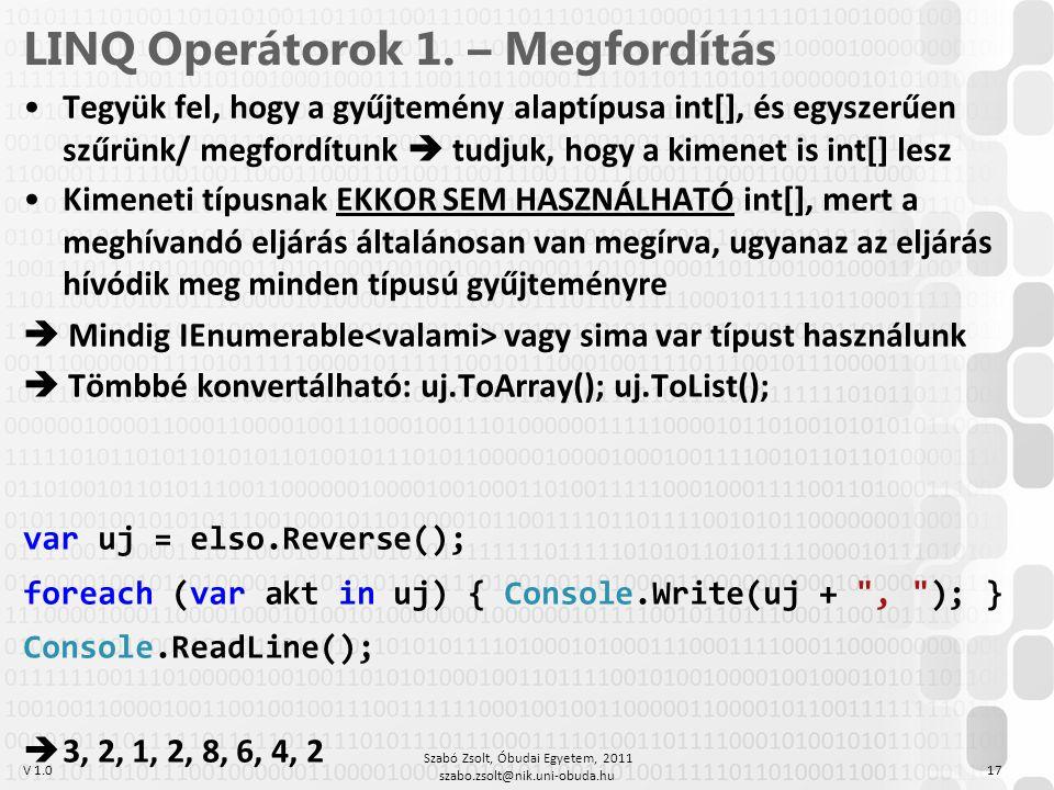 LINQ Operátorok 1. – Megfordítás