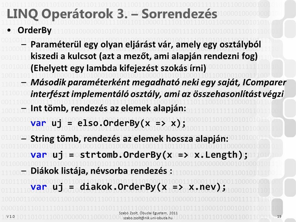 LINQ Operátorok 3. – Sorrendezés