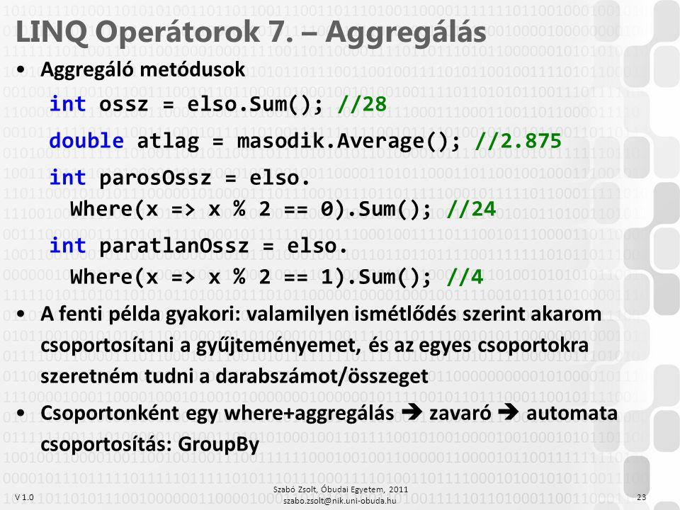 LINQ Operátorok 7. – Aggregálás