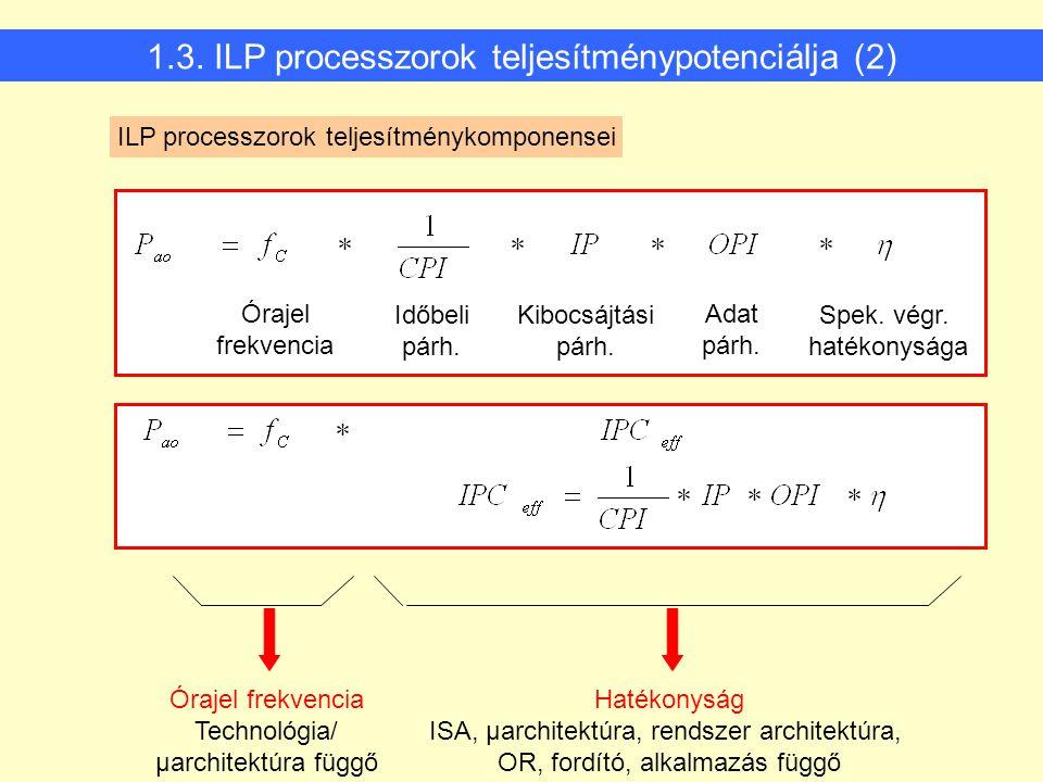 1.3. ILP processzorok teljesítménypotenciálja (2)