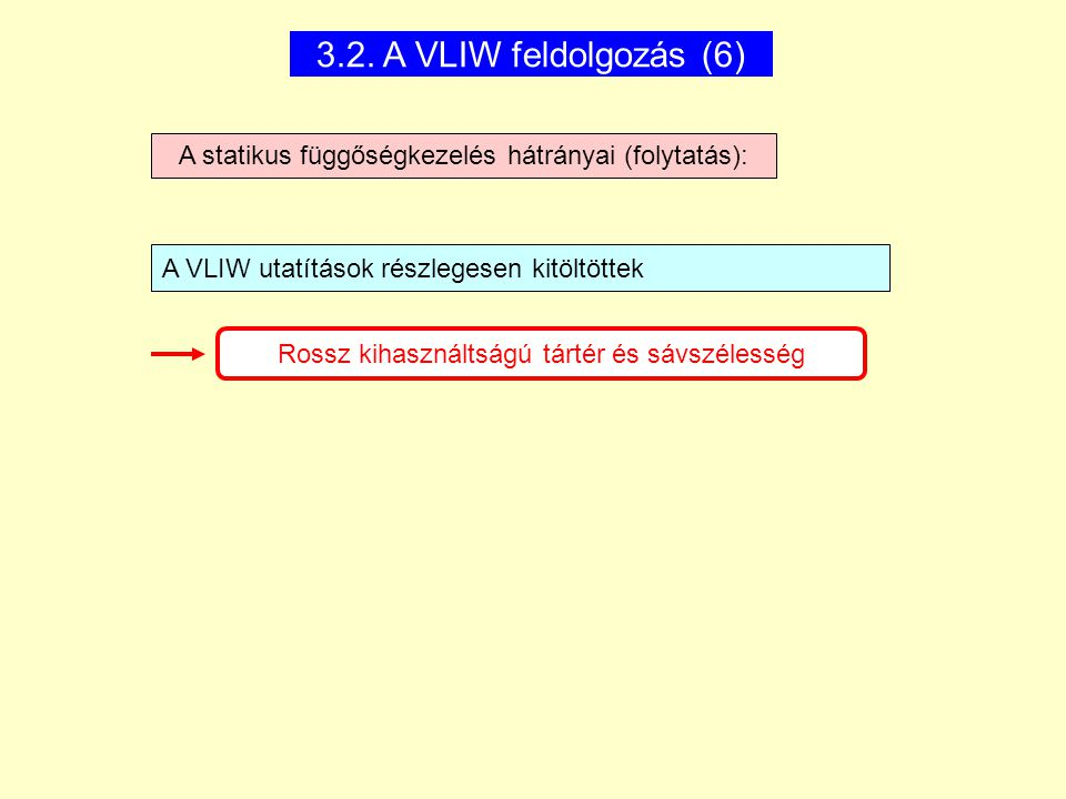 3.2. A VLIW feldolgozás (6) A statikus függőségkezelés hátrányai (folytatás): A VLIW utatítások részlegesen kitöltöttek.