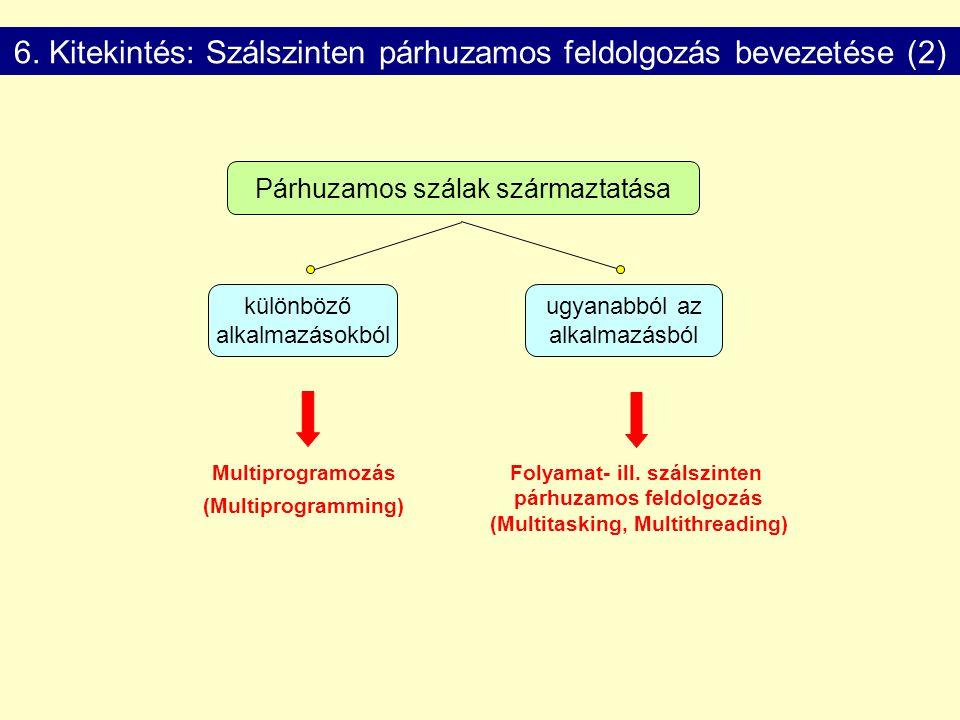 6. Kitekintés: Szálszinten párhuzamos feldolgozás bevezetése (2)