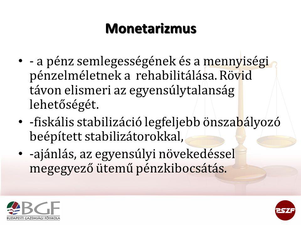Monetarizmus - a pénz semlegességének és a mennyiségi pénzelméletnek a rehabilitálása. Rövid távon elismeri az egyensúlytalanság lehetőségét.