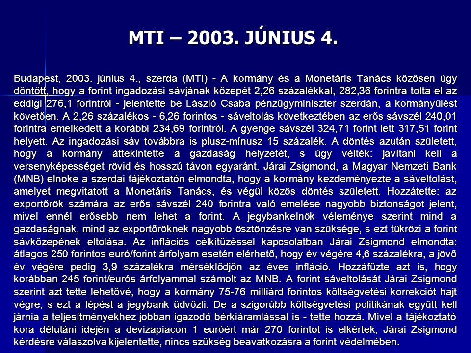 MTI – 2003. JÚNIUS 4.