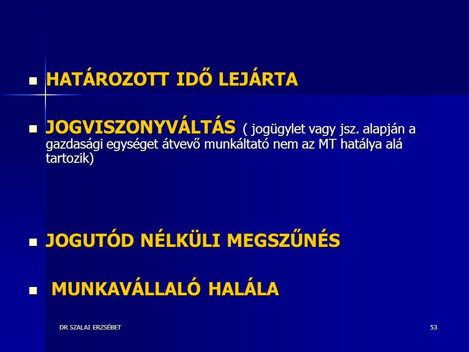 HATÁROZOTT IDŐ LEJÁRTA