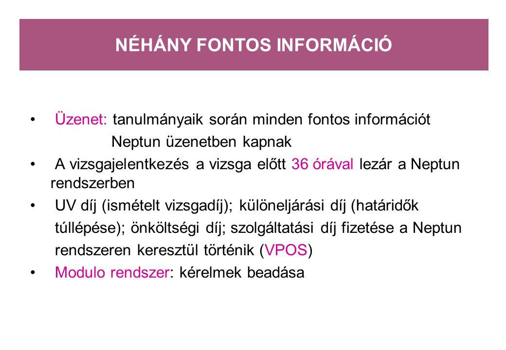 NÉHÁNY FONTOS INFORMÁCIÓ