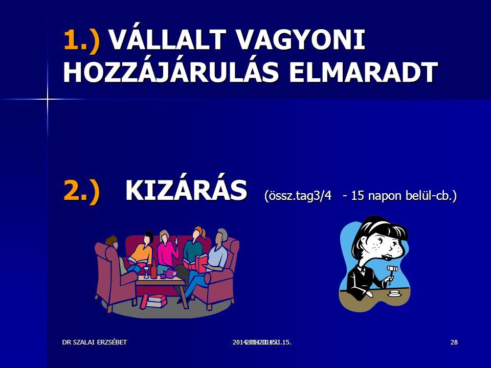 1.) VÁLLALT VAGYONI HOZZÁJÁRULÁS ELMARADT
