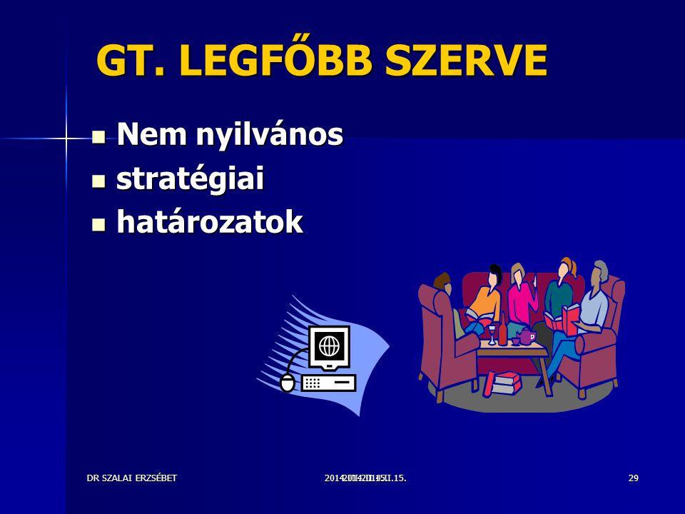 GT. LEGFŐBB SZERVE Nem nyilvános stratégiai határozatok