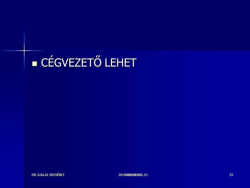 CÉGVEZETŐ LEHET DR SZALAI ERZSÉBET 2014.III.2014.II.15. 2014.II.15.