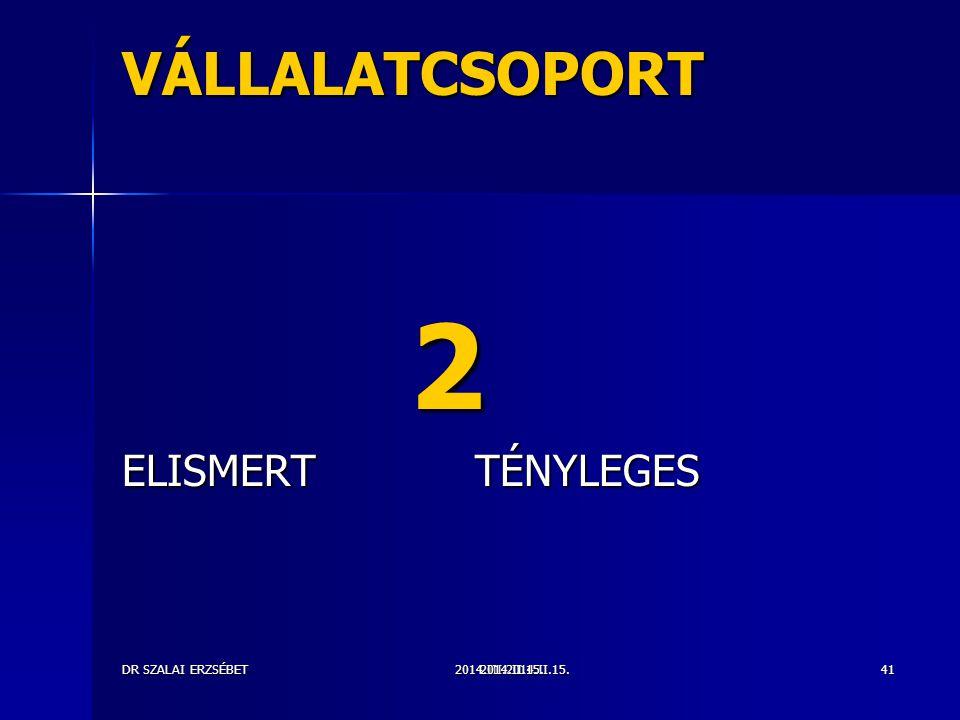VÁLLALATCSOPORT 2 ELISMERT TÉNYLEGES DR SZALAI ERZSÉBET 2014.II.15.