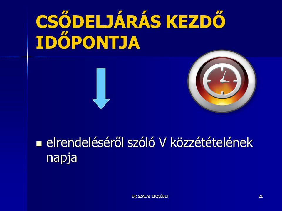 CSŐDELJÁRÁS KEZDŐ IDŐPONTJA