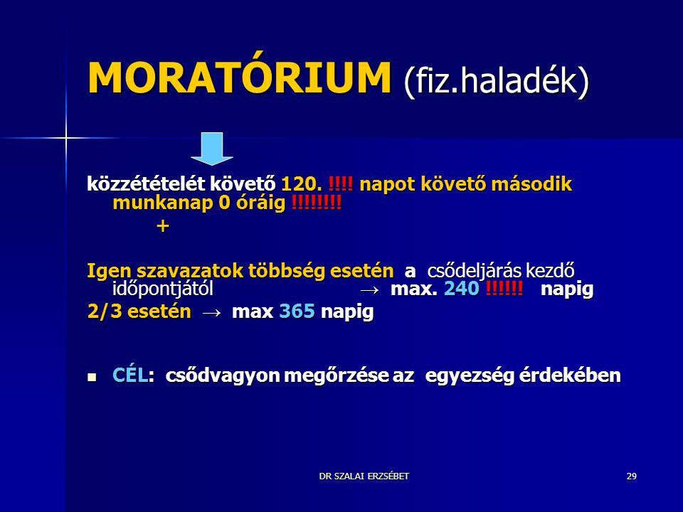 MORATÓRIUM (fiz.haladék)