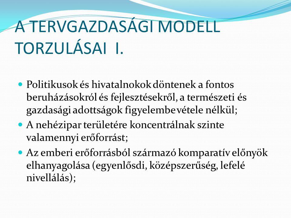 A TERVGAZDASÁGI MODELL TORZULÁSAI I.